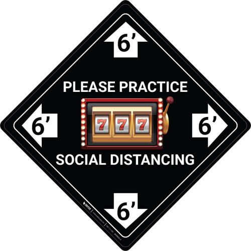 Please Practice Social Distancing - Slots Emoji - Black - Floor Sign