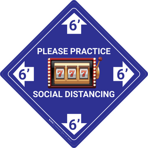 Please Practice Social Distancing - Slots Emoji - Blue - Floor Sign