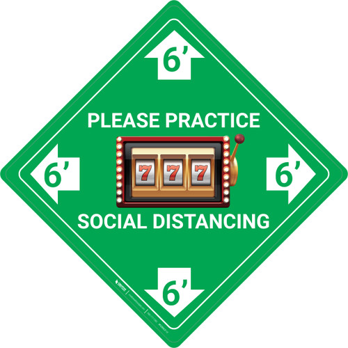 Please Practice Social Distancing - Slots Emoji - Green - Floor Sign