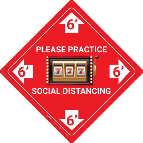 Please Practice Social Distancing - Slots Emoji - Red - Floor Sign