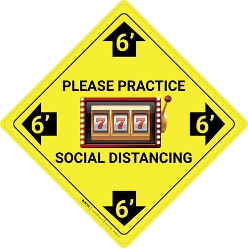 Please Practice Social Distancing - Slots Emoji - Yellow - Floor Sign