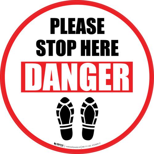 Please Stop Here Danger: Shoe Prints Circular - Floor Sign