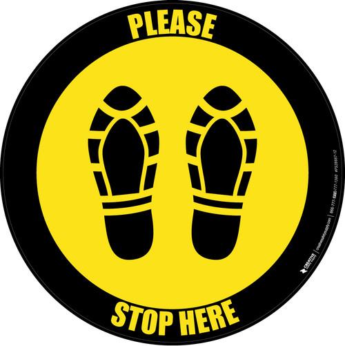 Please Stop Here Shoe Prints Black Border Circular - Floor Sign
