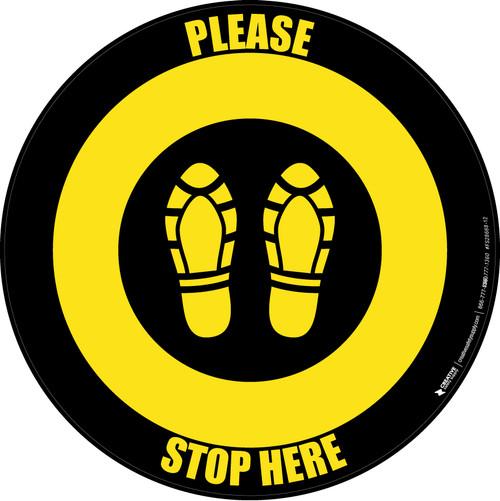 Please Stop Here Shoe Prints Black/Yellow Circular - Floor Sign
