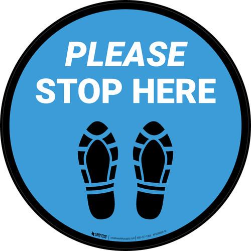 Please Stop Here Shoe Prints Blue Circular - Floor Sign