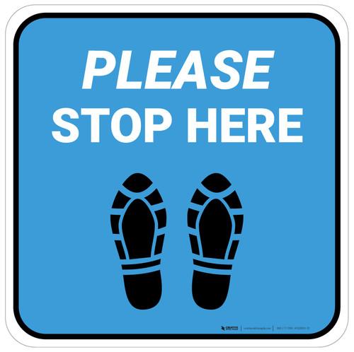 Please Stop Here Shoe Prints Blue Square - Floor Sign
