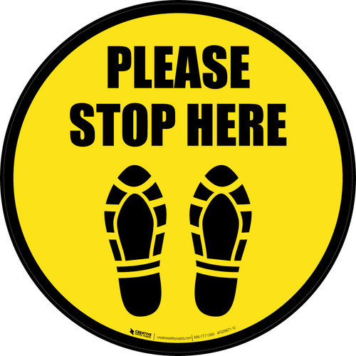 Please Stop Here Shoe Prints Border Circular - Floor Sign