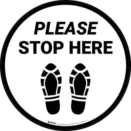 Please Stop Here Shoe Prints Circular - Floor Sign