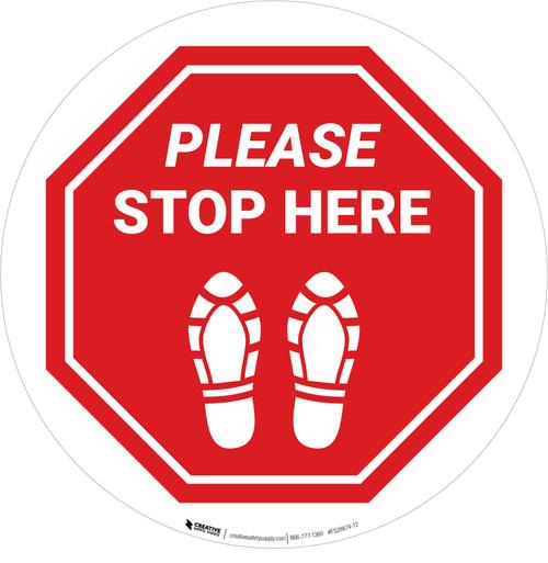 Please Stop Here Shoe Prints Stop Circular - Floor Sign
