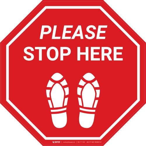 Please Stop Here Shoe Prints Stop - Floor Sign