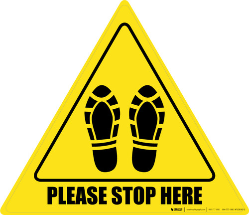 Please Stop Here Shoe Prints Triangle - Floor Sign