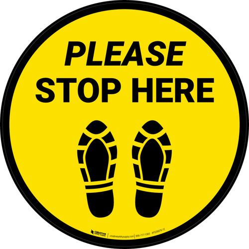 Please Stop Here Shoe Prints Yellow Circular - Floor Sign