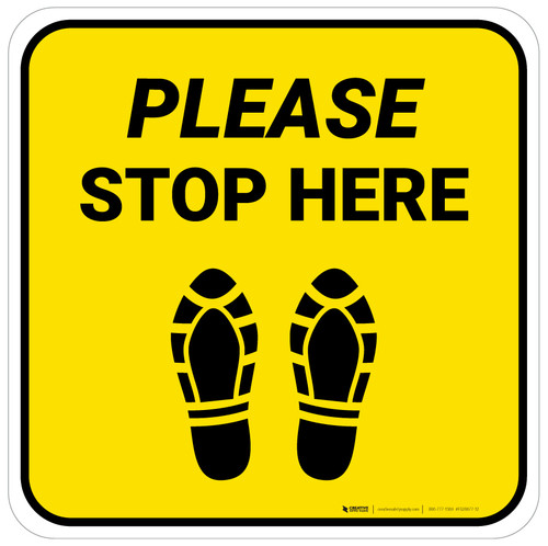 Please Stop Here Shoe Prints Yellow Square - Floor Sign