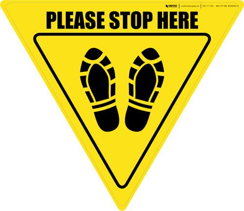 Please Stop Here Shoe Prints Yield - Floor Sign