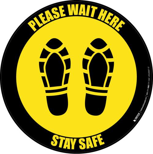 Please Wait Here Stay Safe Shoe Prints Black Border Circular - Floor Sign