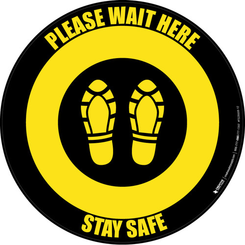 Please Wait Here Stay Safe Shoe Prints Black/Yellow Circular - Floor Sign