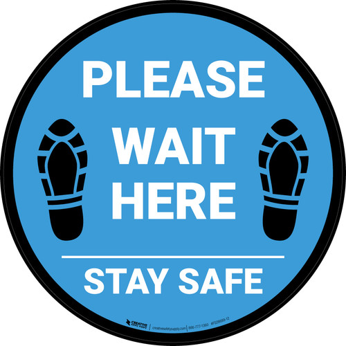 Please Wait Here Stay Safe Shoe Prints Blue Circular - Floor Sign