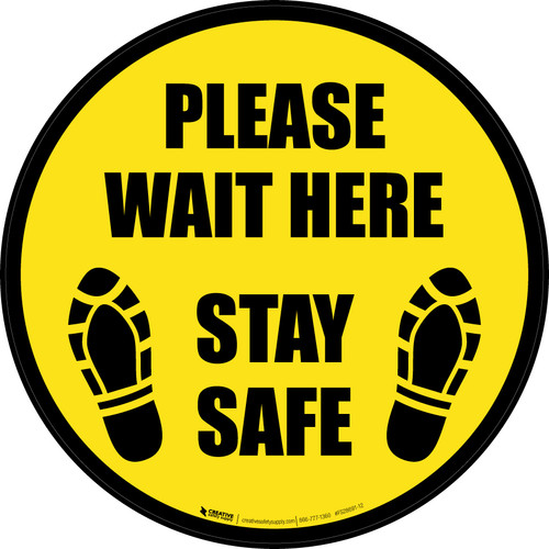 Please Wait Here Stay Safe Shoe Prints Border Circular - Floor Sign