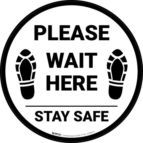 Please Wait Here Stay Safe Shoe Prints Circular - Floor Sign