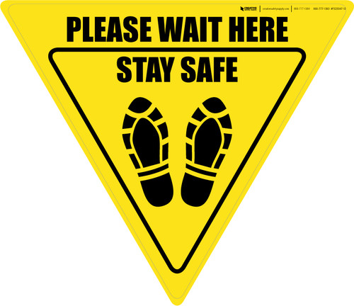 Please Wait Here Stay Safe Shoe Prints Yield - Floor Sign