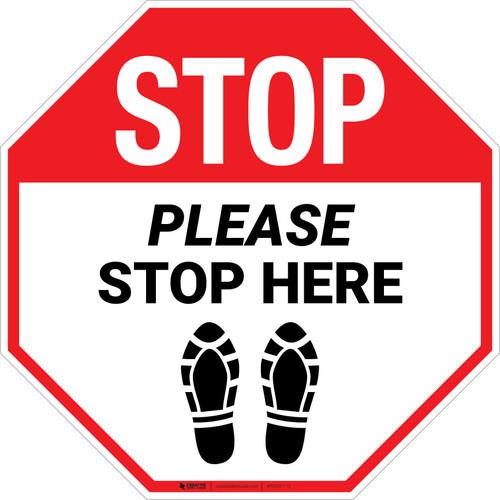 Stop Please Stop Here Shoe Prints Stop - Floor Sign