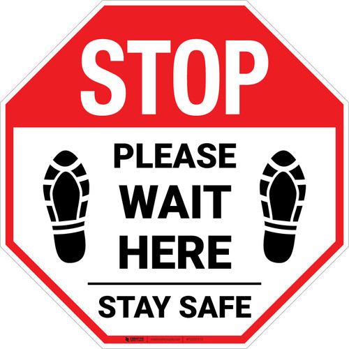 Stop Please Wait Here Stay Safe Shoe Prints Stop - Floor Sign