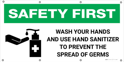 Safety First: Wash Your Hands And Use Hand Sanitizer with Icon - Banner