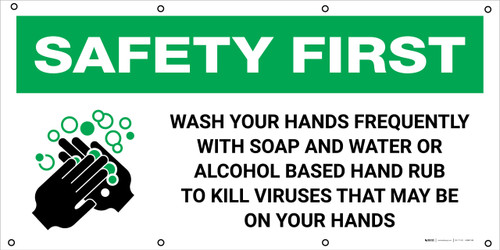 Safety First: Wash Your Hands Frequently with Icon - Banner