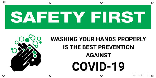 Safety First: Washing Your Hands to Prevent COVID-19 with Icon - Banner