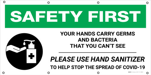 Safety First: Your Hands Carry Germs with Icon - Banner