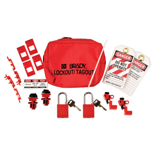 120/277V Breaker Lockout Pouch with Padlocks & Tags