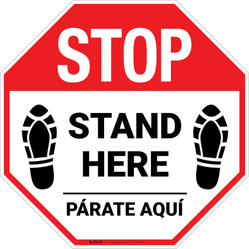 STOP Stand Here Parate Aqui Shoe Prints Bilingual Stop - Floor Sign