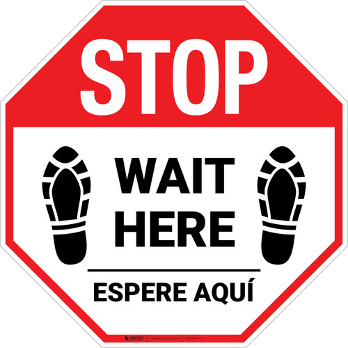 STOP Wait Here Espere Aqui Shoe Prints Bilingual Stop - Floor Sign