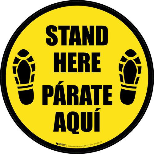 Stand Here Parate Aqui Shoe Prints Bilingual Yellow Circular - Floor Sign