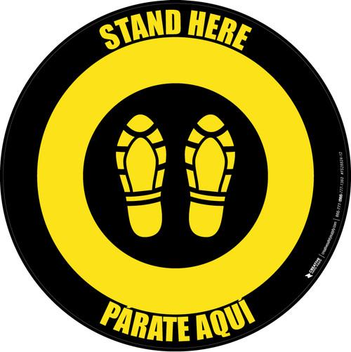 Stand Here Parate Aqui Shoe Prints Bilingual Yellow/Black Circular - Floor Sign