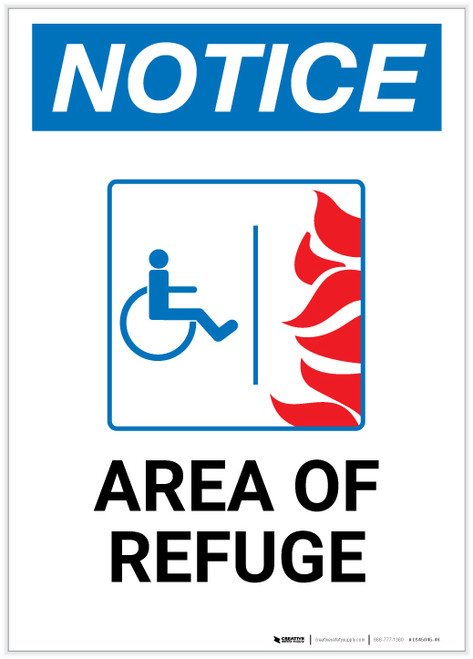 Notice: Area of Refuge with ADA Fire Icon Portrait - Label