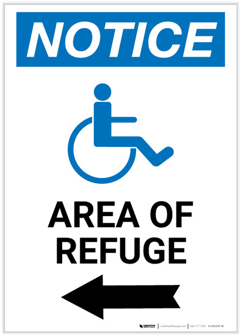 Notice: Area of Refuge with ADA Icon Left Arrow Portrait - Label