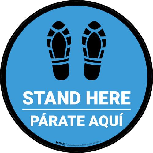 Stand Here Parate Aqui Shoe Prints Bilingual Blue Circular - Floor Sign