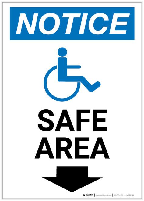 Notice: Safe Area Down Arrow with ADA Icon Portrait - Label