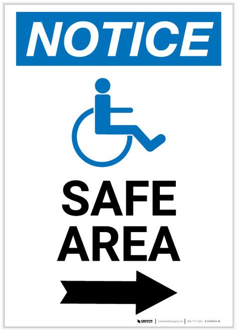 Notice: Safe Area Right Arrow with ADA Icon Portrait - Label
