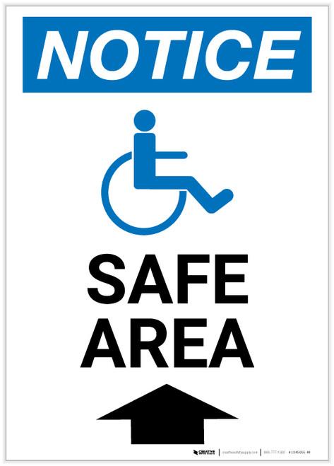 Notice: Safe Area Up Arrow with ADA Icon Portrait - Label
