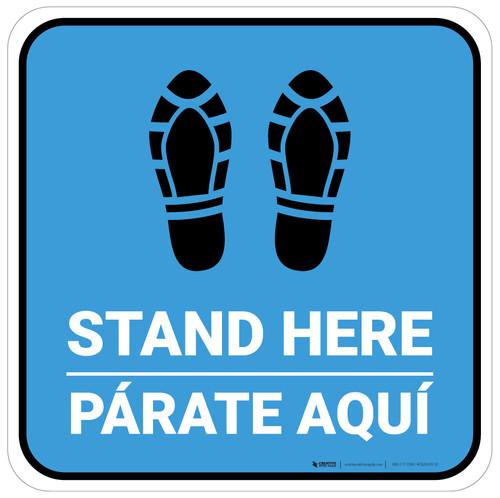Stand Here Parate Aqui Shoe Prints Bilingual Blue Square - Floor Sign