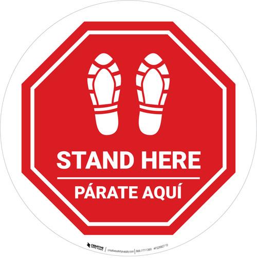 Stand Here Parate Aqui Shoe Prints Bilingual Stop Circular - Floor Sign