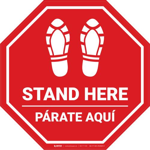 Stand Here Parate Aqui Shoe Prints Bilingual Stop - Floor Sign