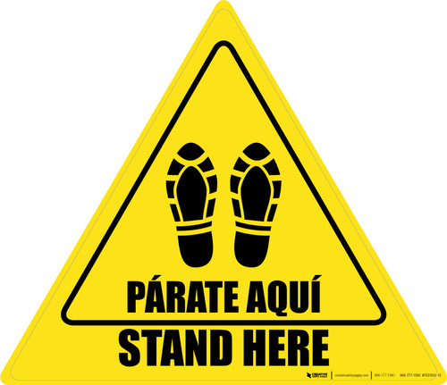 Stand Here Parate Aqui Shoe Prints Bilingual Triangle - Floor Sign