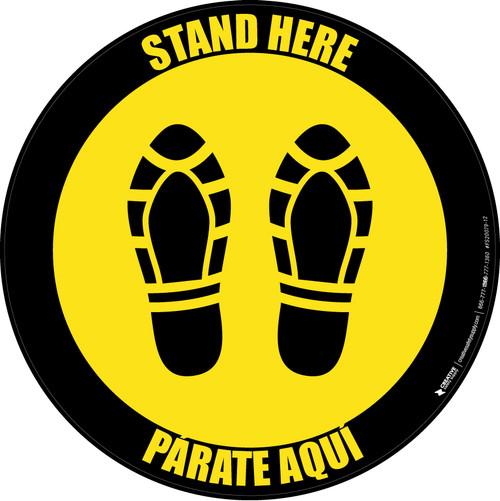 Stand Here Parate Aqui Shoe Prints Bilingual Yellow Black Border Circular - Floor Sign