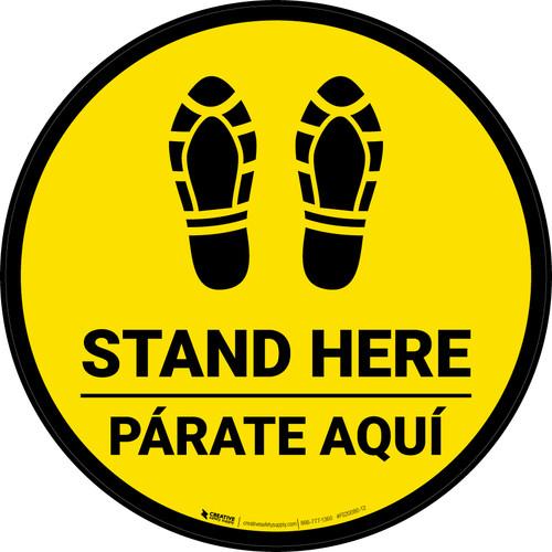 Stand Here Parate Aqui Shoe Prints Bilingual Black Border Circular - Floor Sign
