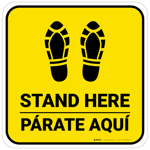 Stand Here Parate Aqui Shoe Prints Bilingual Yellow Square - Floor Sign