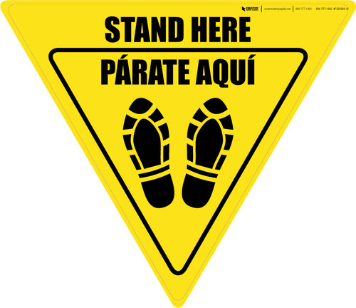 Stand Here Parate Aqui Shoe Prints Bilingual Yield - Floor Sign