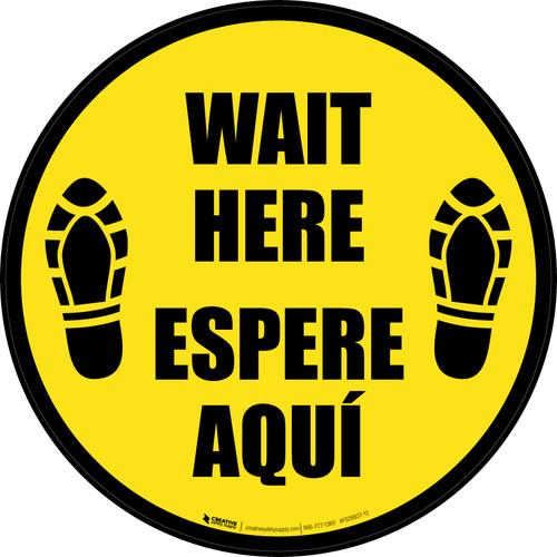 Wait Here Espere Aqui Shoe Prints Bilingual Black Border Circular - Floor Sign